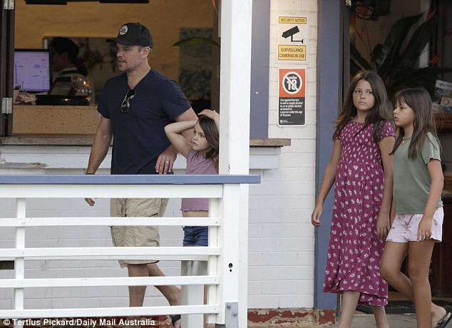 Looking like locals: These latest sightings of the Hollywood actor have done little to dispel rumours that Matt is considering a permanent move with his family to Byron Bay