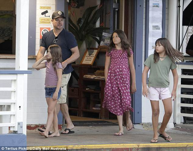 Smilin' in Byron: Matt Damon, 47, has been holidaying in the popular Australian seaside town of Byron Bay with his daughters Isabella, 12, Gia, 10, and Stella, eight, in tow