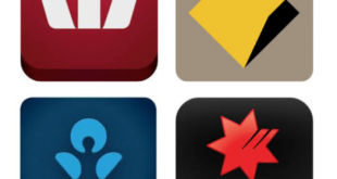 Logos of the big four banks in Australia: Commonwealth Bank, Wespac, ANZ and National Australia Bank.
