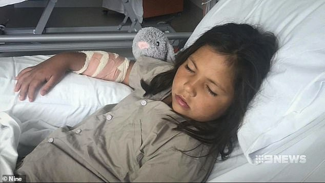 Ella Andrews, 7 (pictured), stepped in to save her 18-month-old sister after a Rottweiler launched at her in a park at Piara Waters in Perth on Monday night