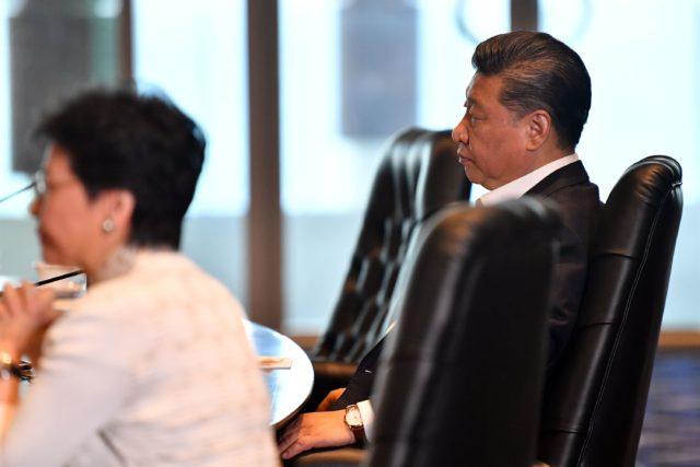 中國國家主席習近平與香港特首林鄭月娥。(圖片來源:SAEED KHAN/AFP via Getty Images)