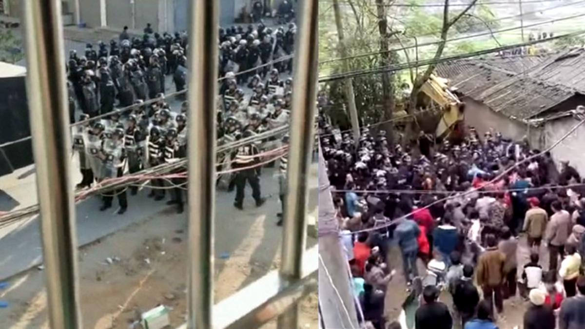 广东茂名民众近日来因反对兴建火葬场,爆发大规模抗争。(图片来源:Youtube影片截图)