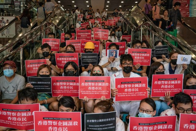 """香港""""反送中""""运动以来,浮尸、坠楼等死亡案件暴增,疑点重重。(图片来源:Anthony Kwan/Getty Images)"""