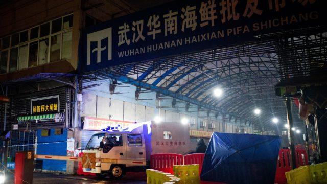 图为发现病毒的武汉华南海鲜批发市场。