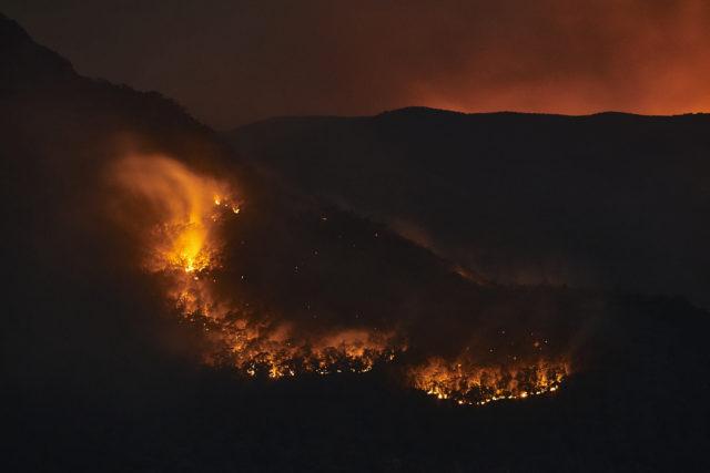 新州蓝山的火情。(Brett Hemmings/Getty Images)