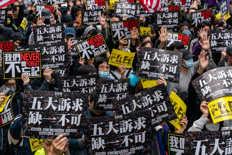 港警腰斩香港元旦游行 滥捕百名年轻市民。(图片来源:Anthony Kwan/Getty Images)