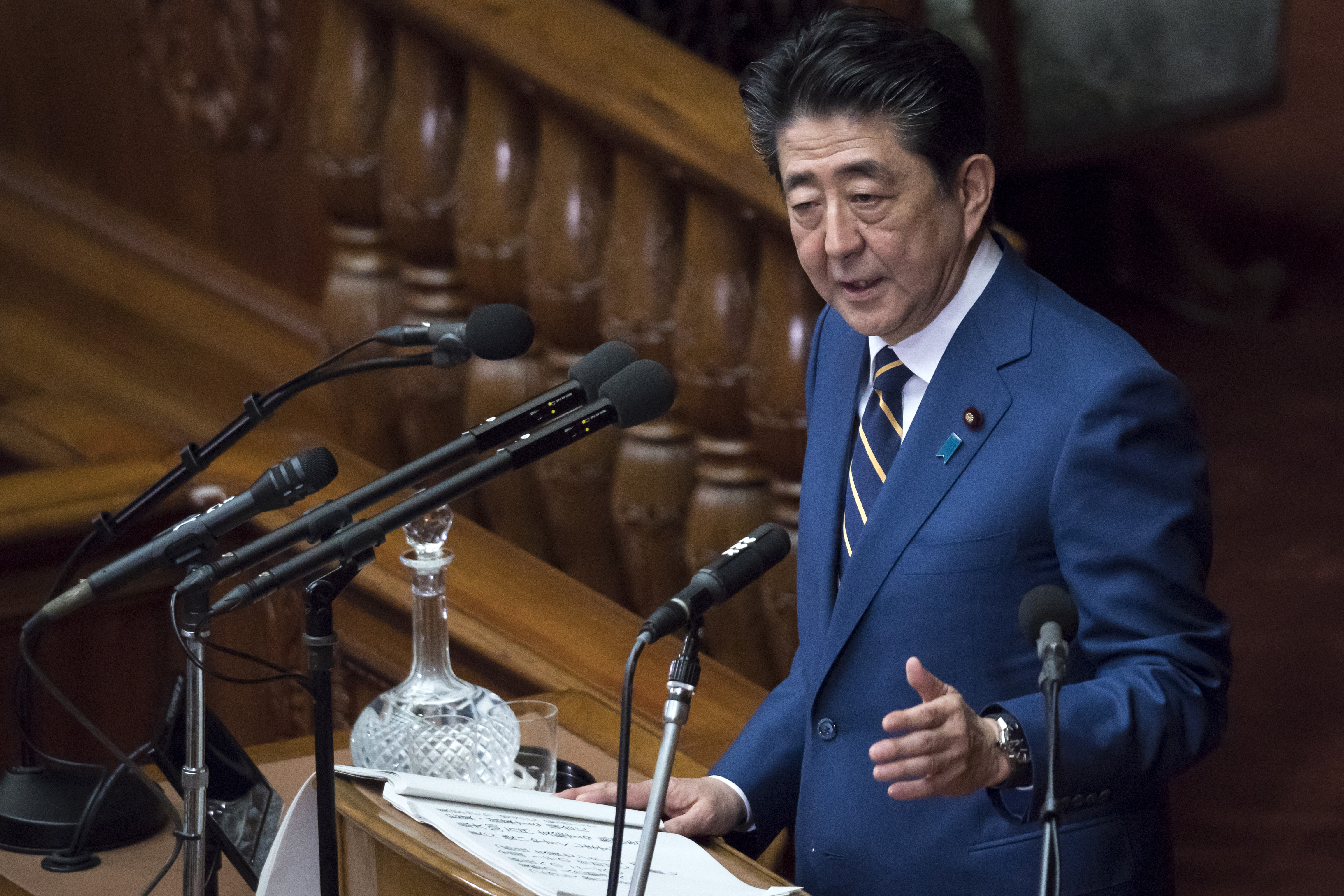 日本首相安倍晉三1月20日在國會發表施政方針演說。