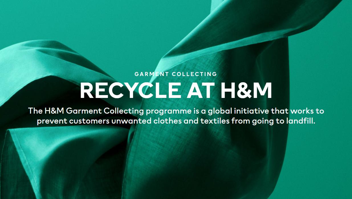 H&M提供免费回收旧衣物的服务
