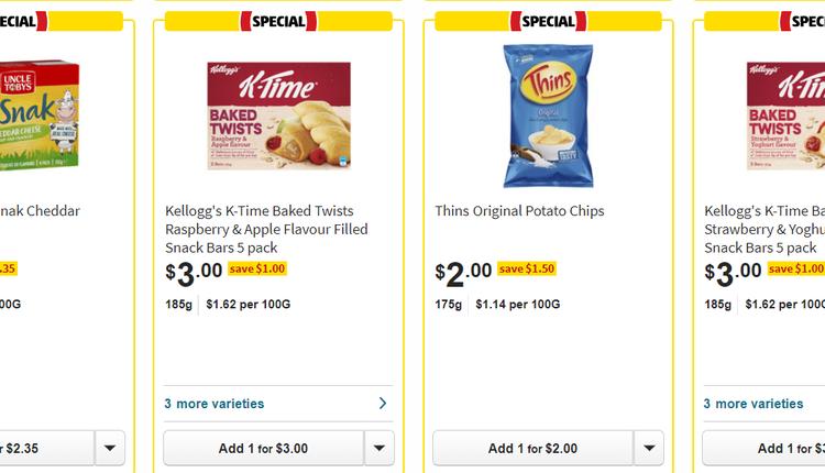 Coles超市零食半价