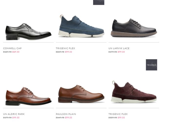 男士皮鞋、運動鞋也有折扣