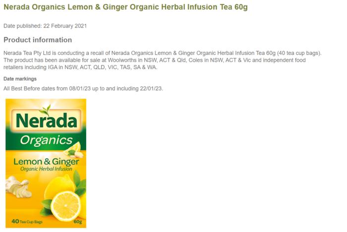 Nerada Organics Lemon & Ginger Organic Herbal Infusion Tea
