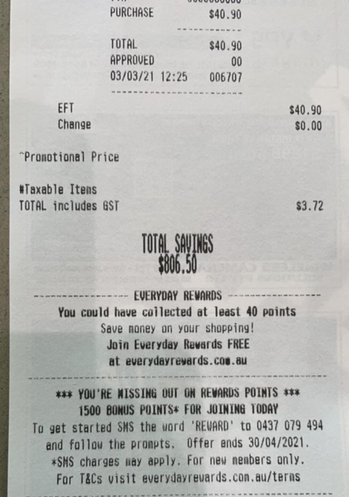 一位购物者的收据显示其节省金额超过800澳元