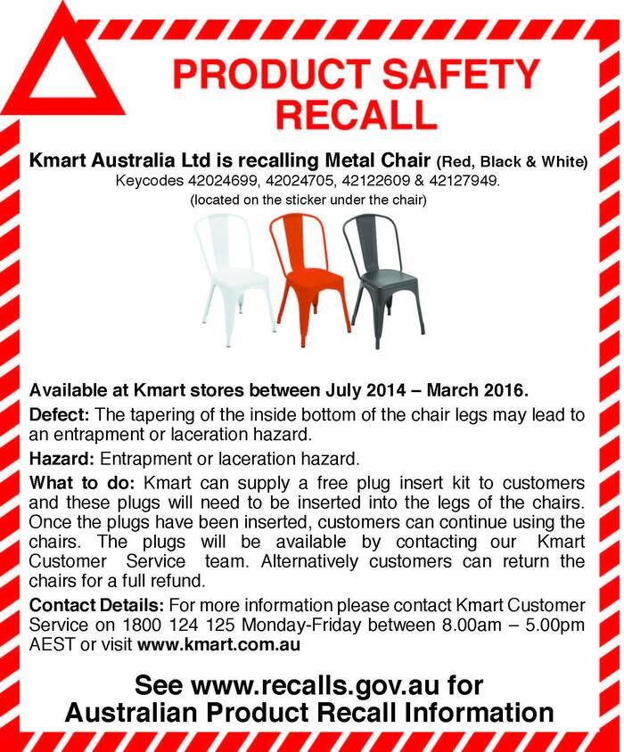 因使用者面臨受傷風險 Kmart召回暢銷金屬椅