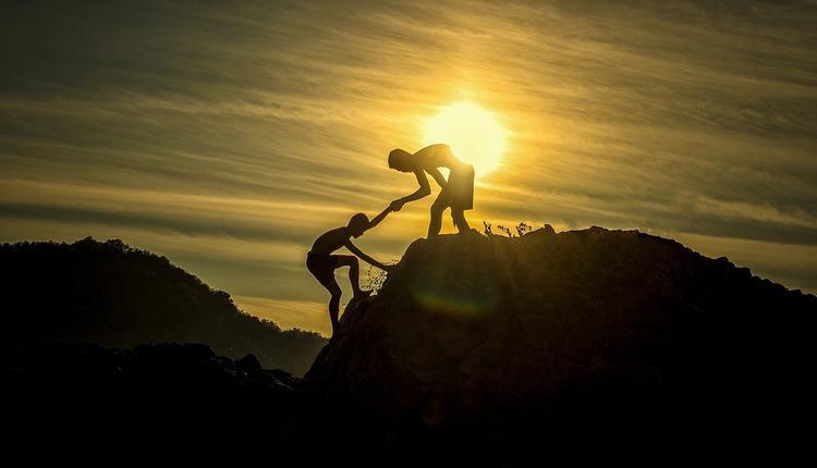 日落,爬山,